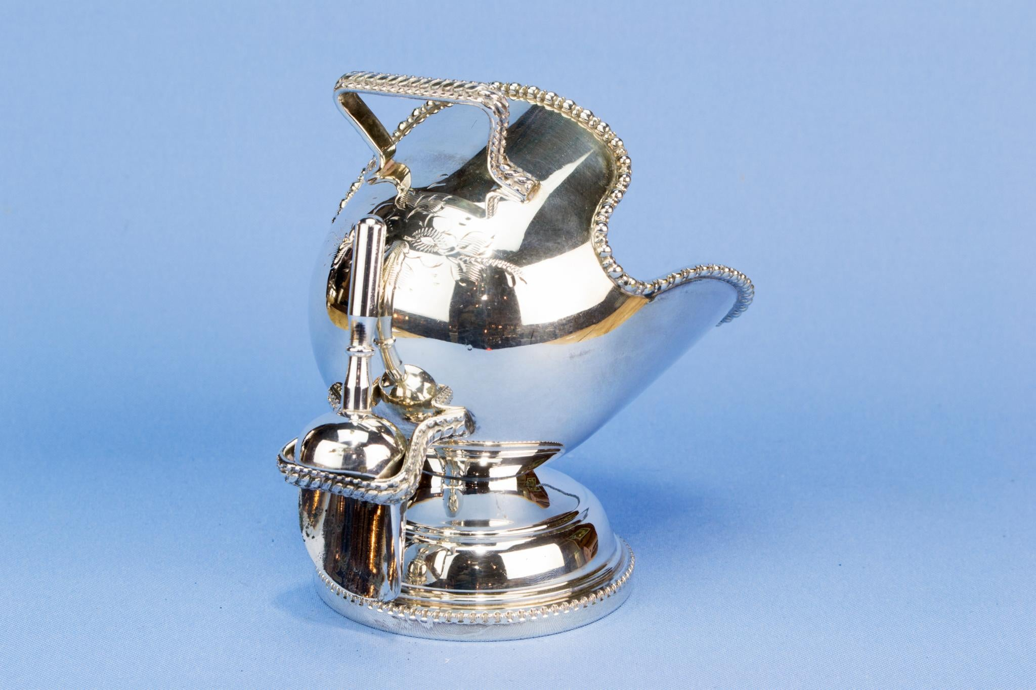 Silver plated sugar bowl and spoon
