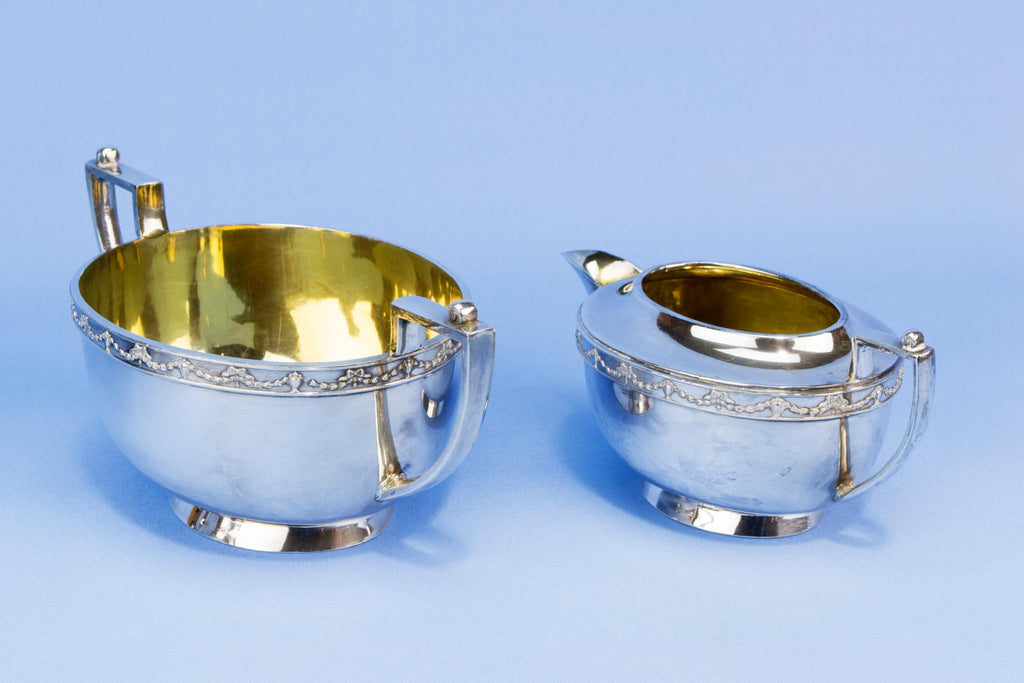 Silver Plated and Gilded tea set, English circa 1910