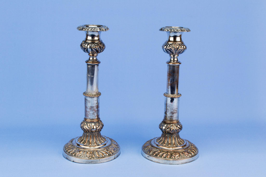 Two extendable silver plated candlesticks, English 19th century