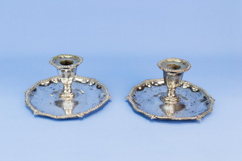 2 silver plated table candlesticks, English early 1900s