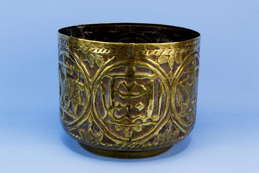 Brass embossed and engraved planter