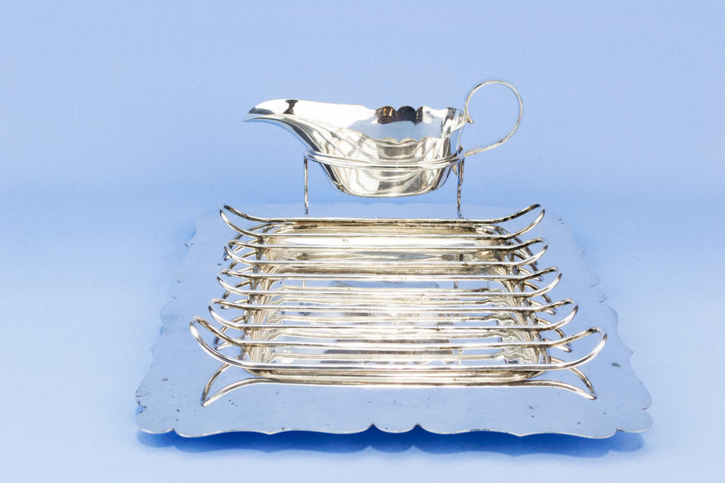 Silver plated French toast serving dish, English 1930s