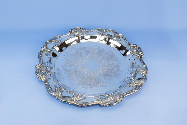 Silver plated English drinks round serving tray