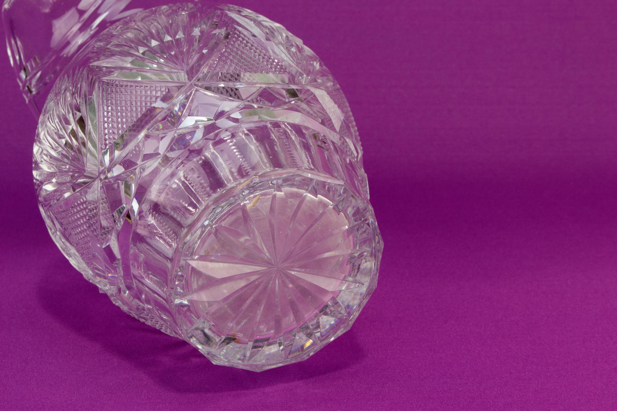 Heavy cut crystal glass jug