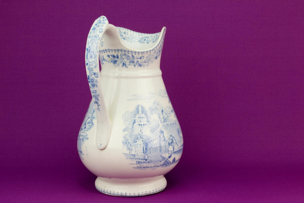 Large blue and white flower jug, English 19th century