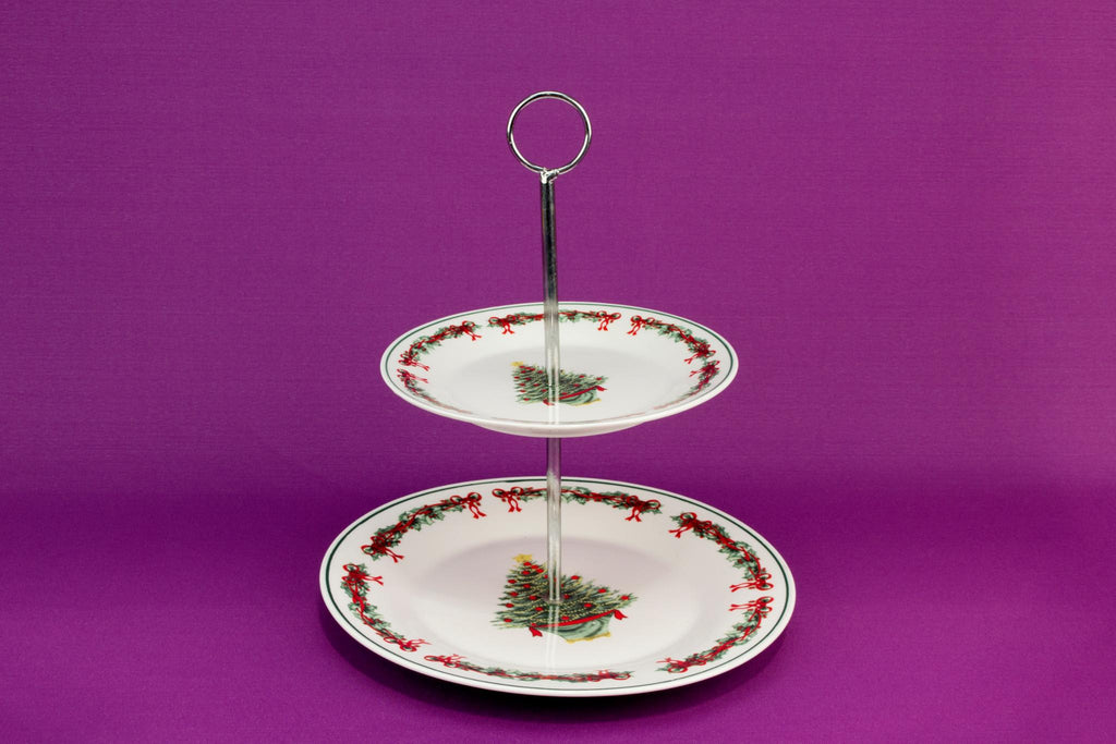 Christmas tree two tier cake stand