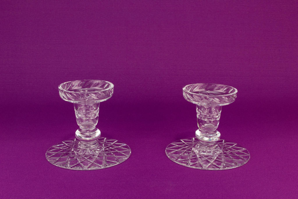 2 cut glass table candlesticks, English 1960s