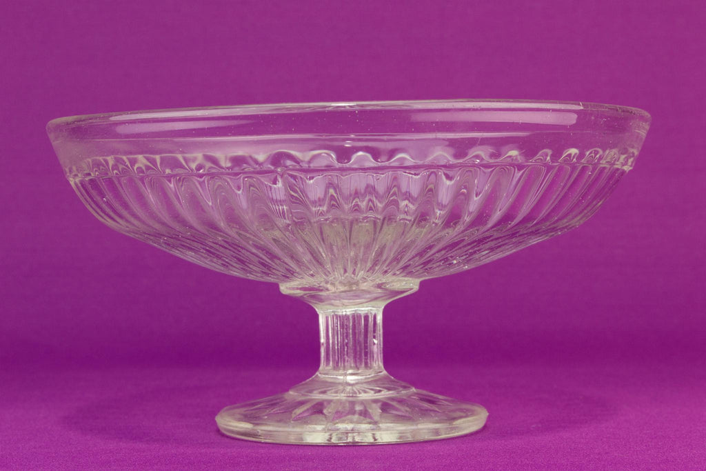 Pressed glass cake stem bowl, English 1930s