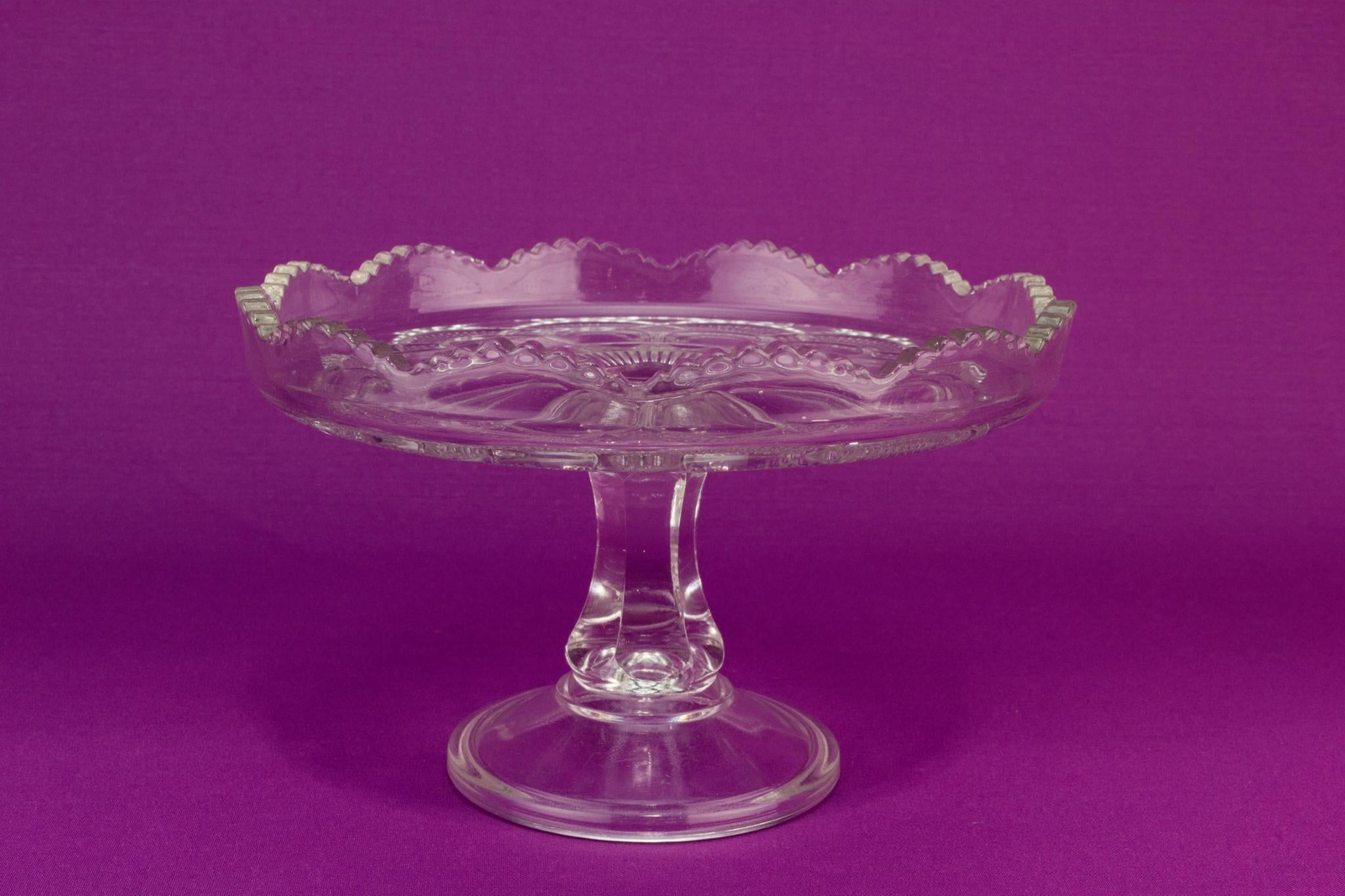 Pressed glass cake stand, English early 1900s