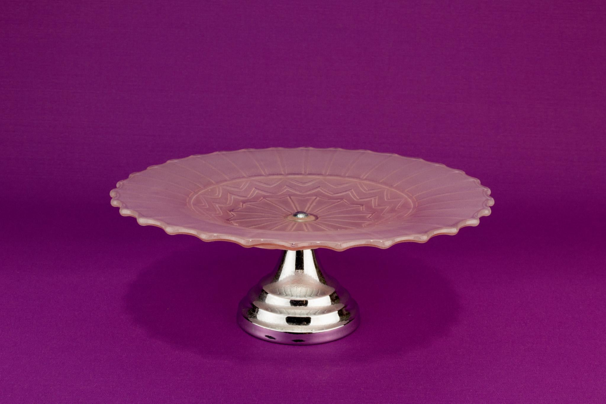 Art Deco Pink glass and chrome cake stand, English 1930s