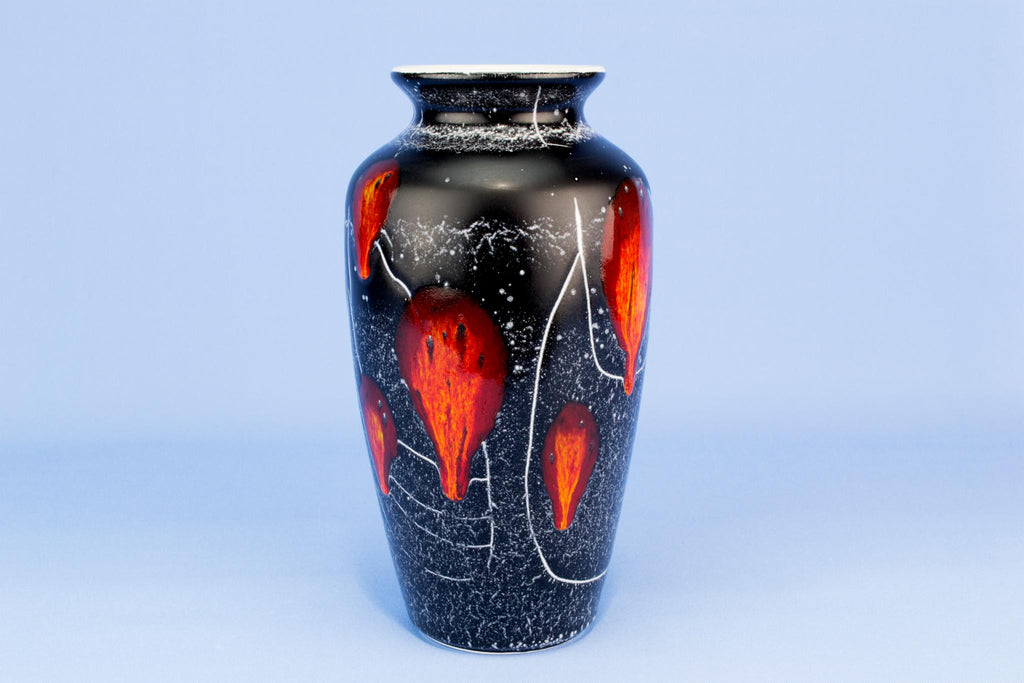 Black and red Poole flower vase, English circa 1970