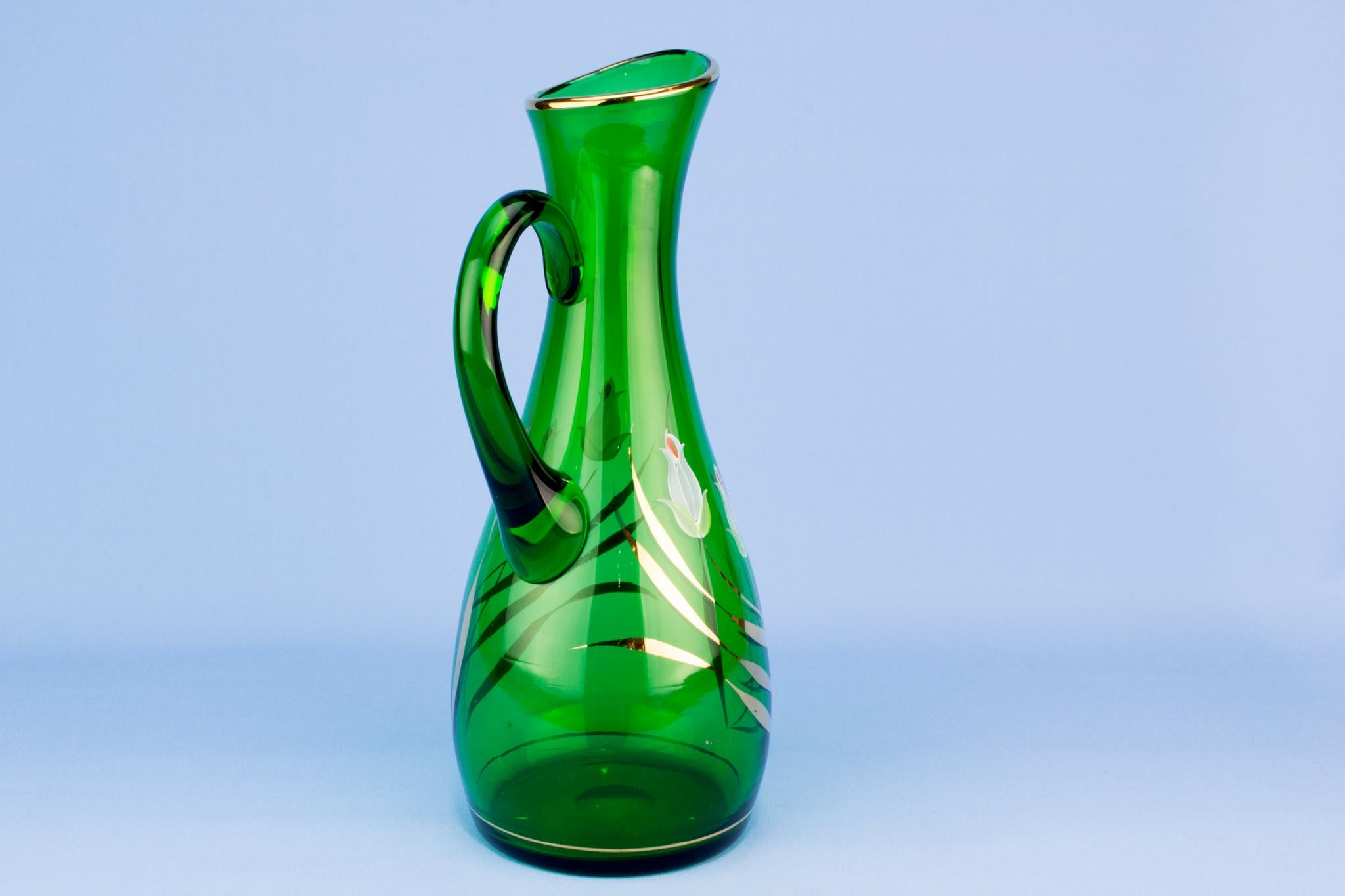 Green blown and painted glass jug, English 1950s