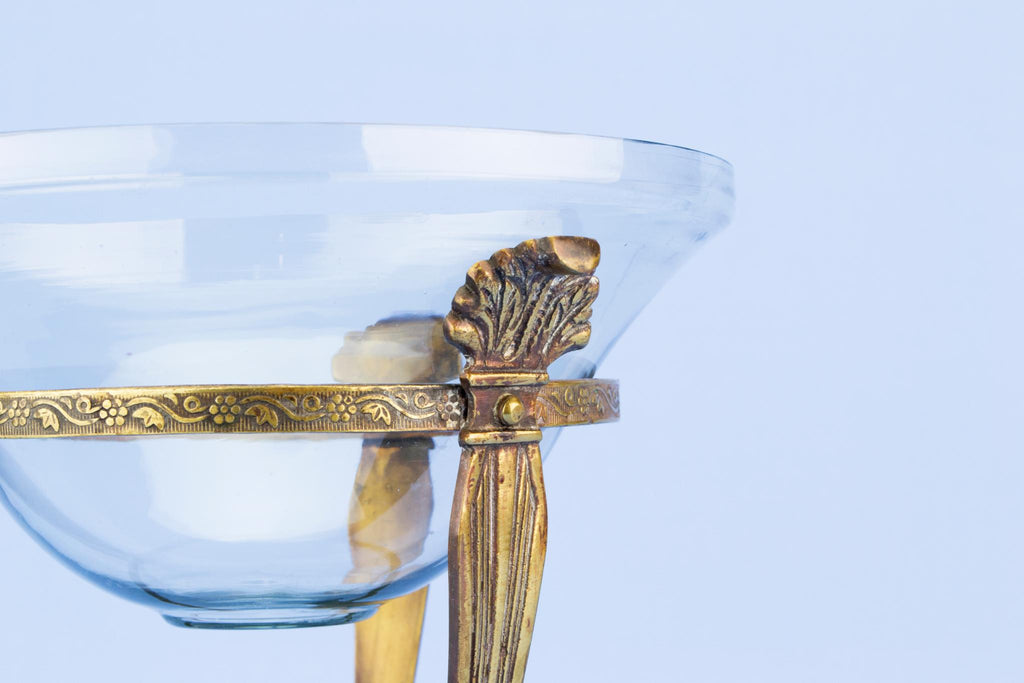 Glass lined Brass tripod centrepiece, English 1910s