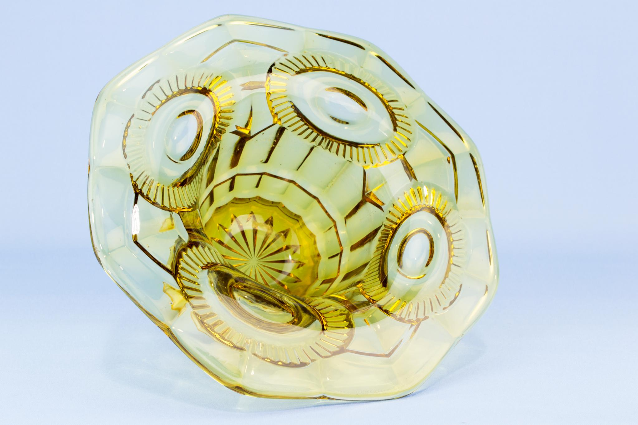 Art Deco amber glass bowl, English 1930s