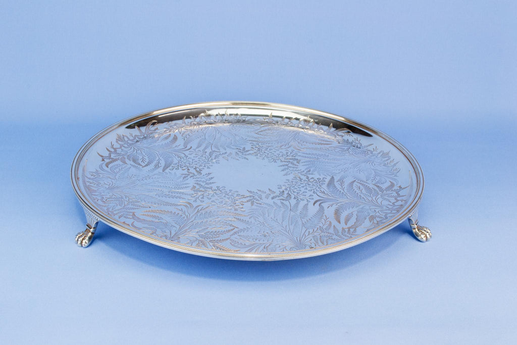 Silver plated engraved drinks tray, English early 1900s