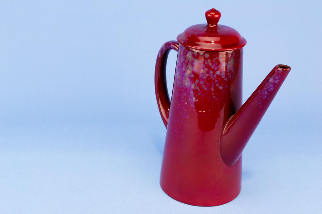 Red Royal Doulton Flambe Coffee Pot, English 1920s