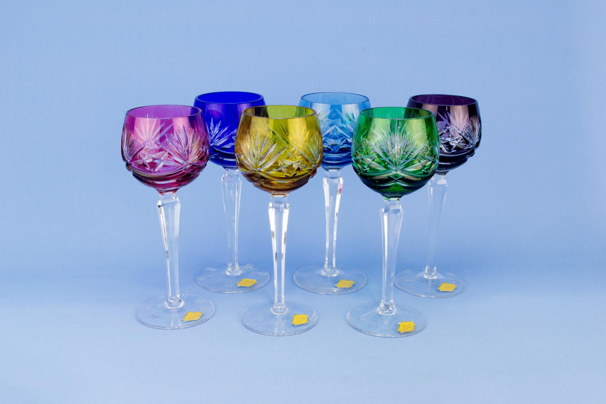 6 Harlequin wine glasses, German circa 1970