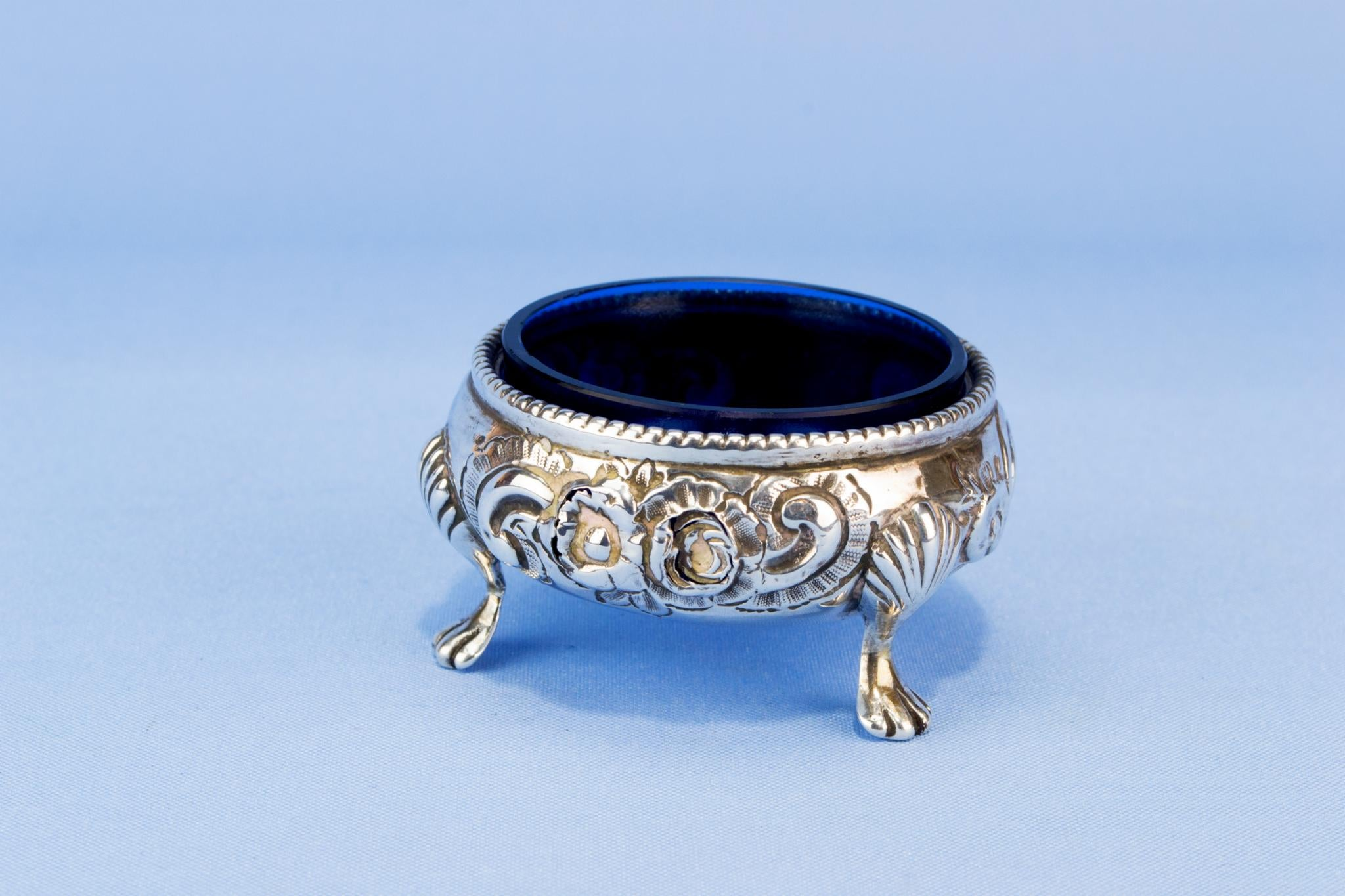 Sterling silver and blue glass condiment pot, English 1866