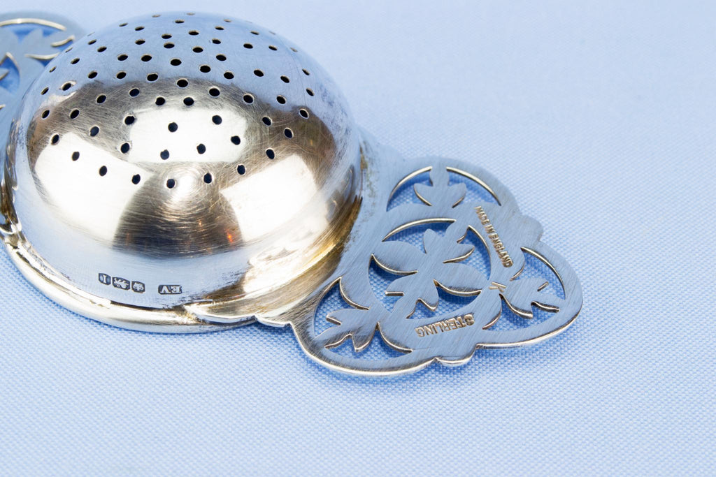 Sterling silver tea sifter, English 1951