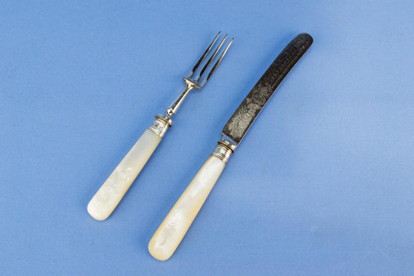 12 Dessert Knives and Forks in Mother of pearl, English 1898