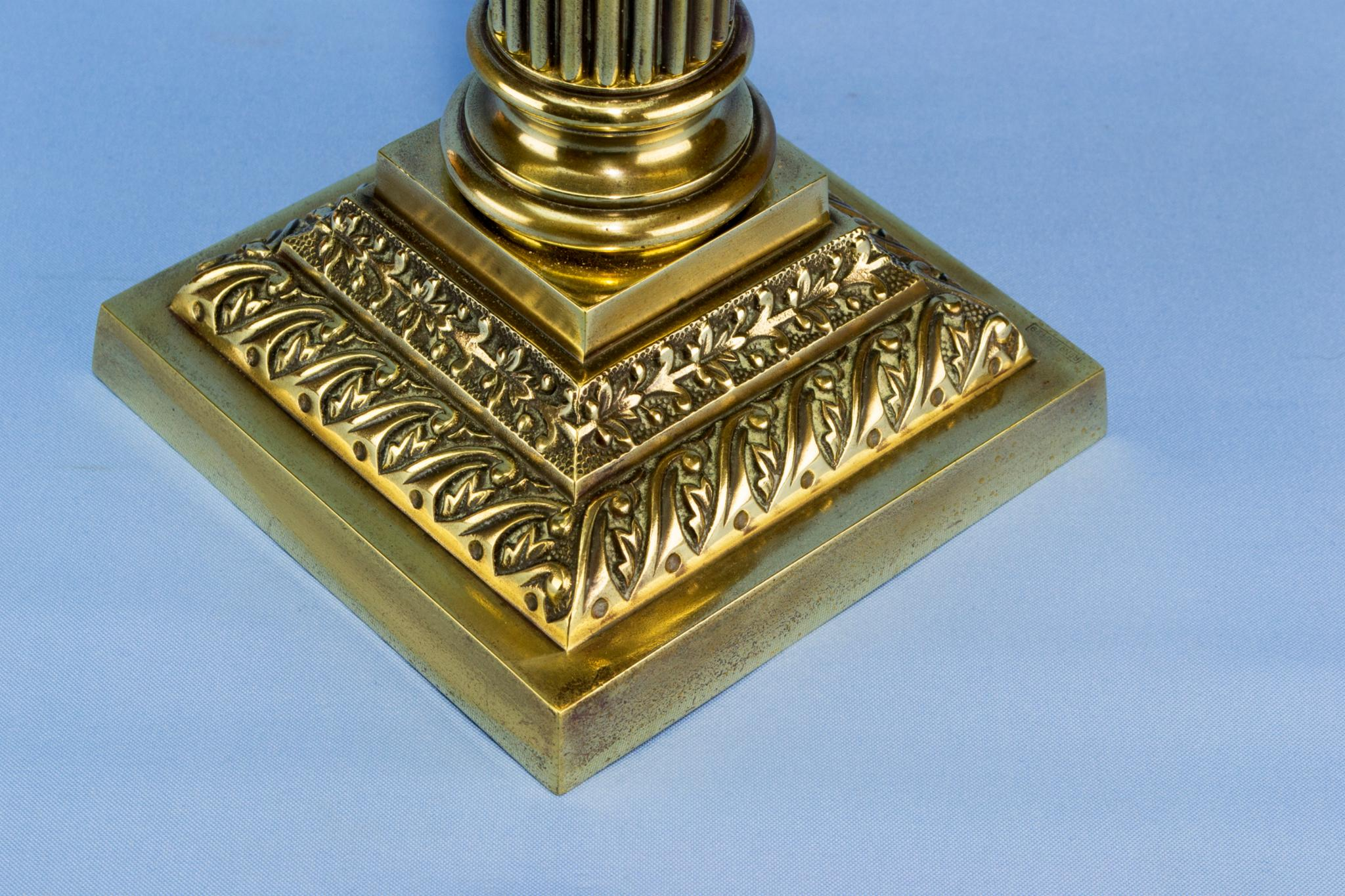 Tall brass oil lamp, English Victorian 1860s