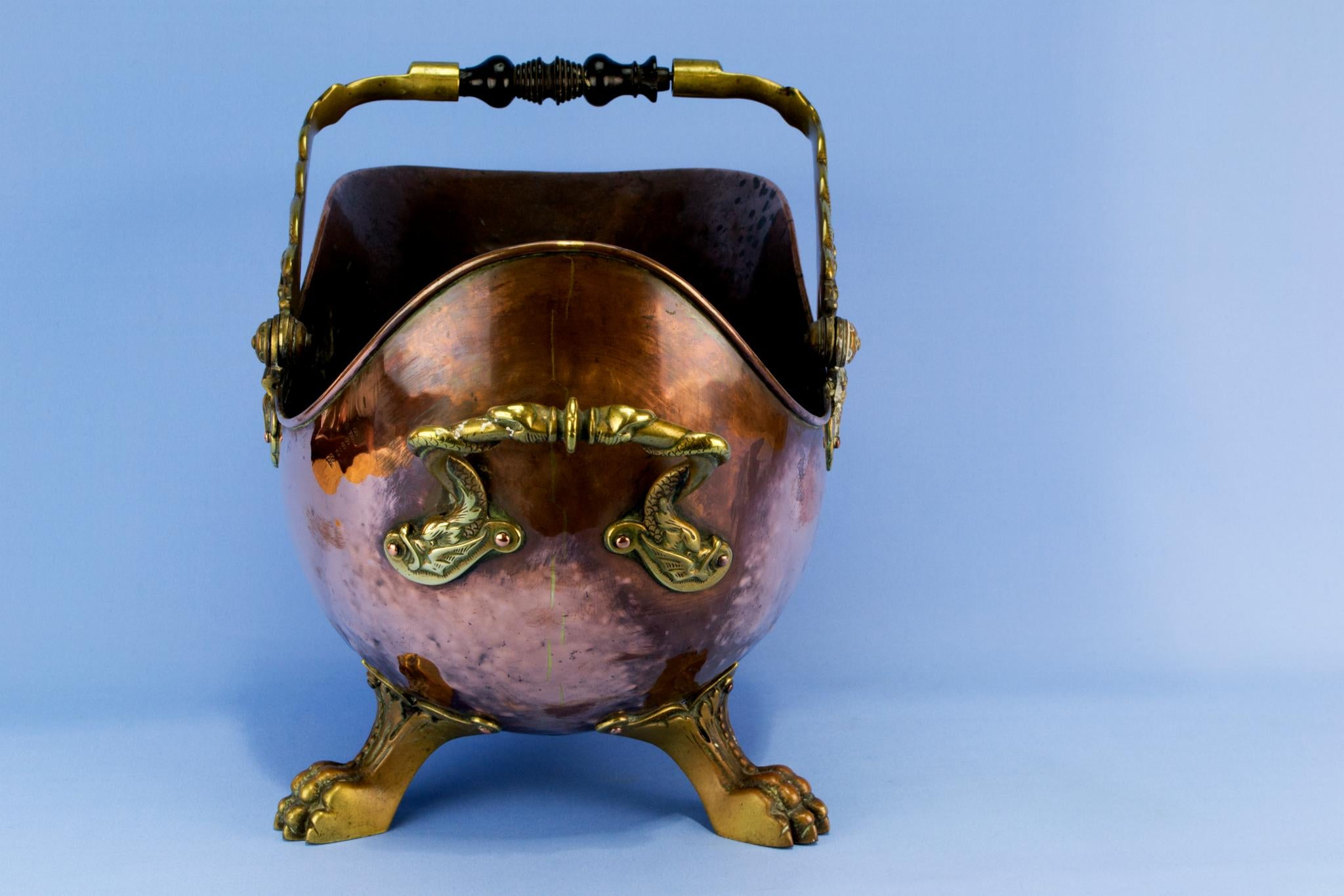 copper fireplace bucket english 1860s mid 19th century lavish