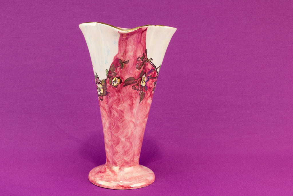 Art Deco tall pink jug, English 1930s