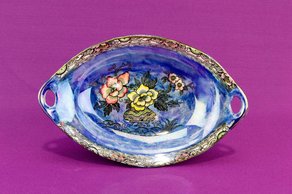 Art Deco blue lustre serving bowl, English 1930s
