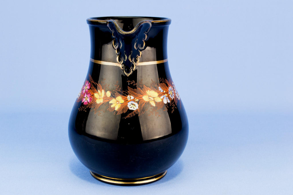 Small Black floral water jug, English 19th century