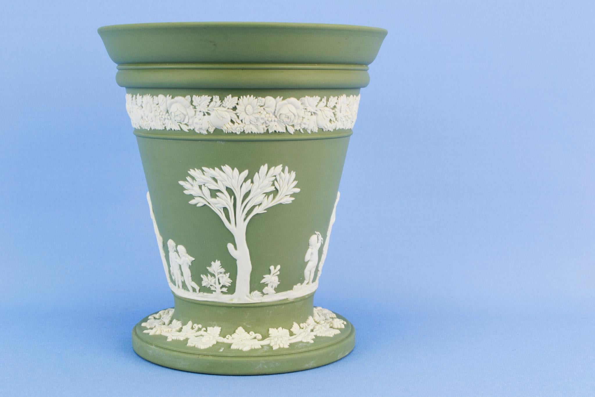 Wedgwood Green jasperware vase, English 1950s