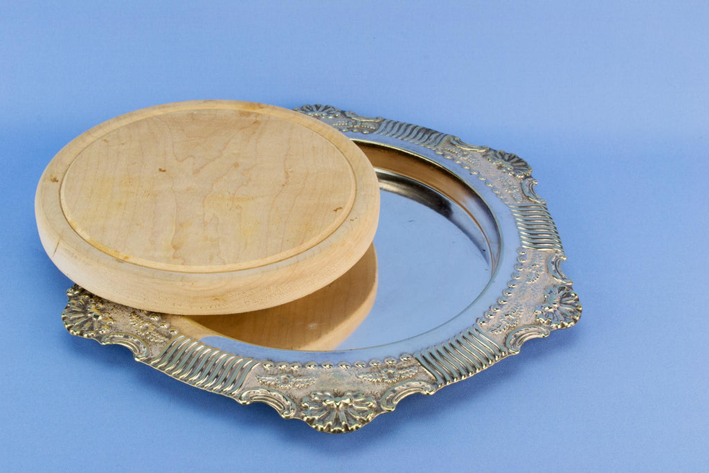 Silver plated bread platter, English circa 1900