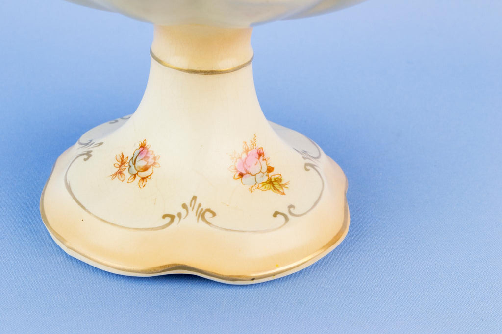 Pink serving stem bowl, English 1890s