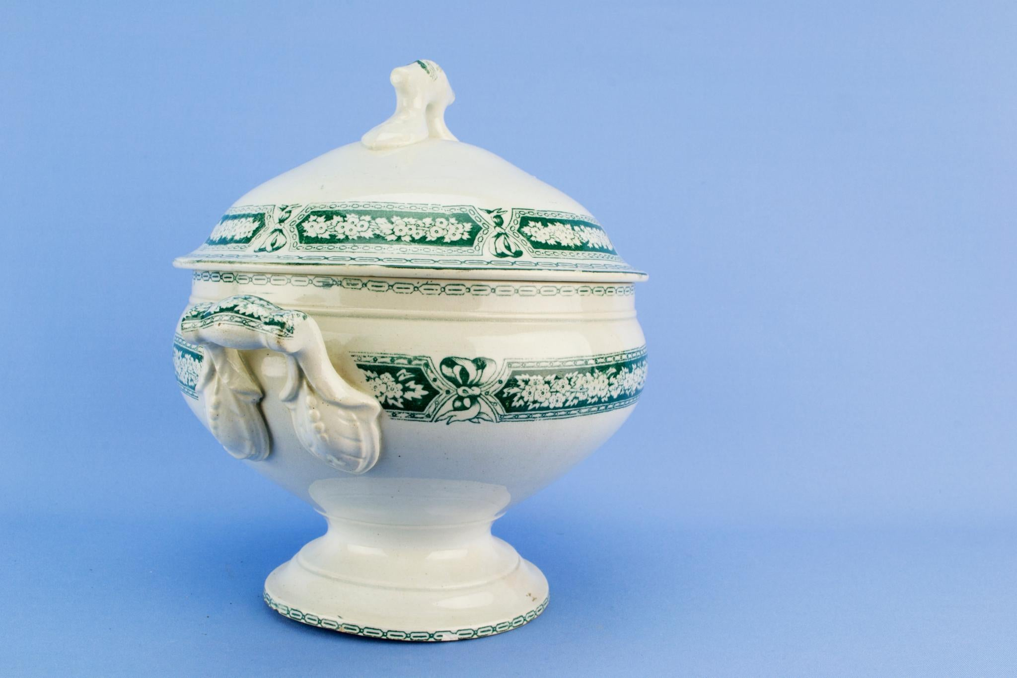 Large Green Floral Tureen, English 1870s
