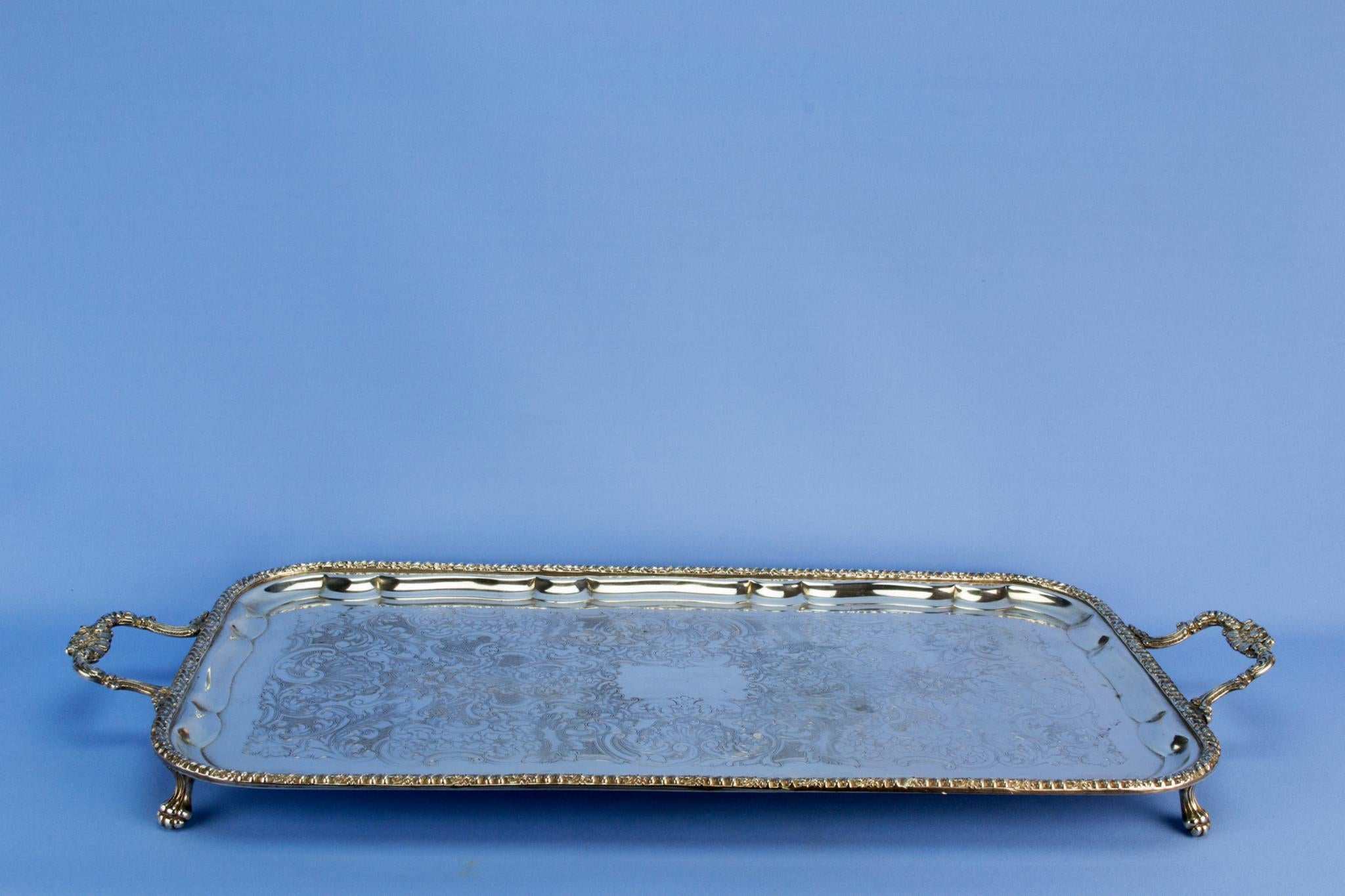 Large silver plated drinks serving tray