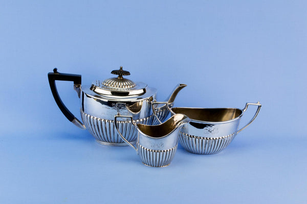 Martin Hall silver plated tea set trio, English 1930s