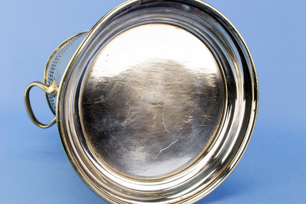 Large silver plated bottle coaster, English 1930s