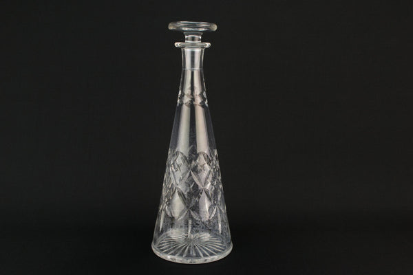 Cut glass conical decanter, English 1970s