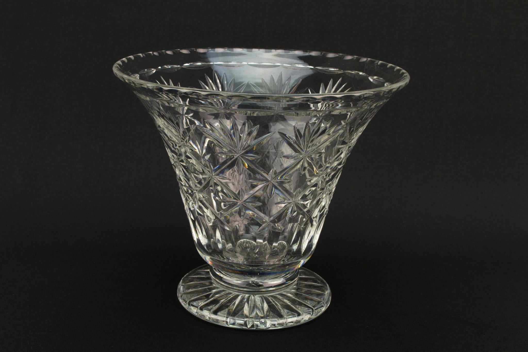 Cut Glass Conical Vase, English Mid 20th Century