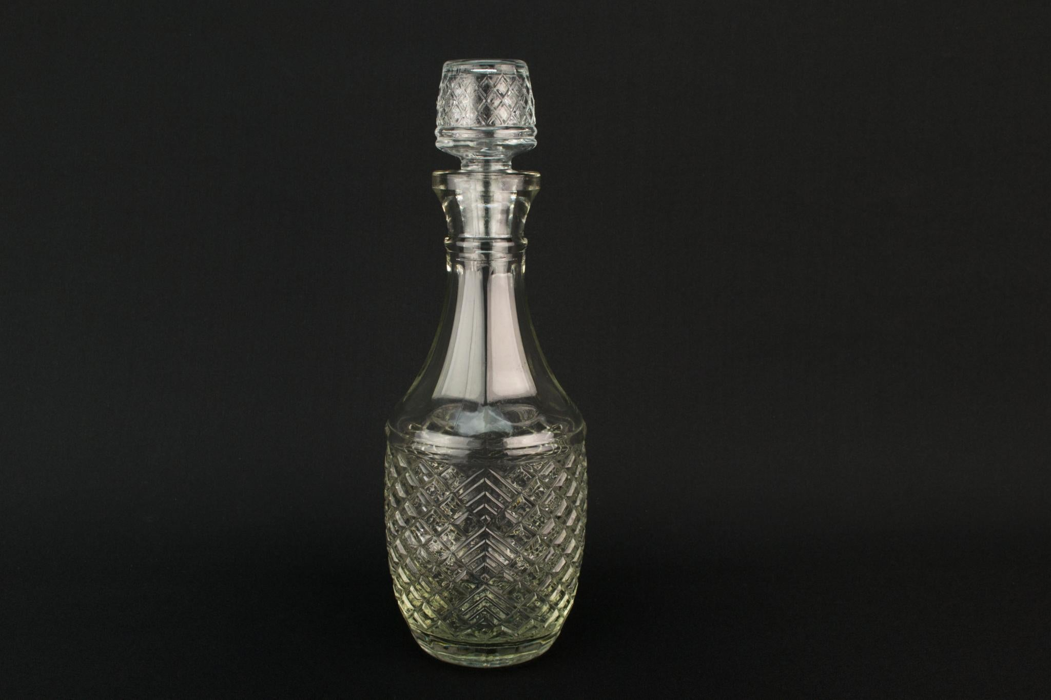 Moulded Glass Medium Barrel Decanter, English 1960s