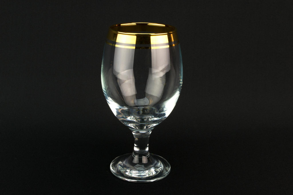 Set Of 6 gilded Wine Glass, European 1970s