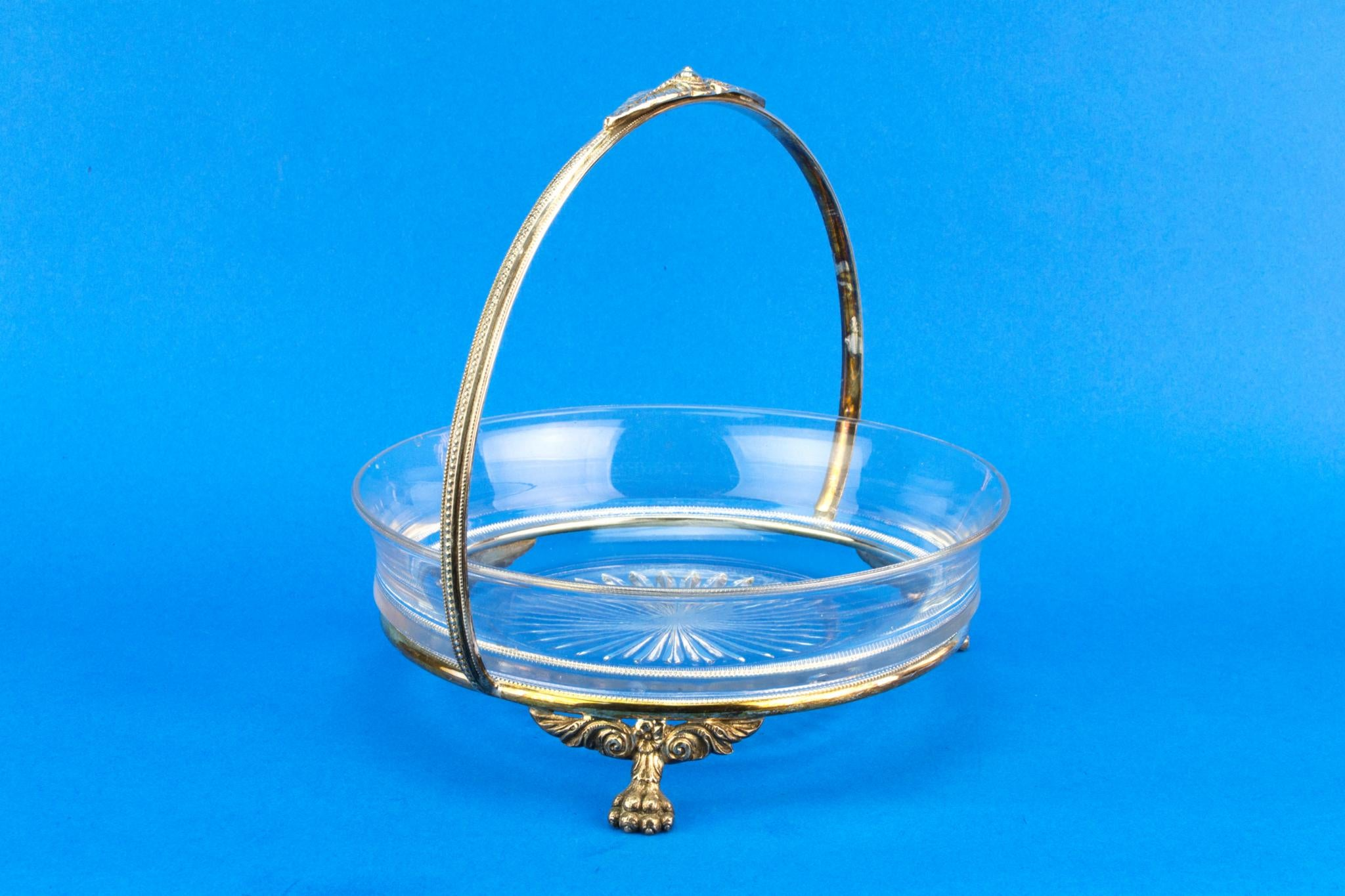 Silver Plated and Glass Serving Bowl, English 1930s