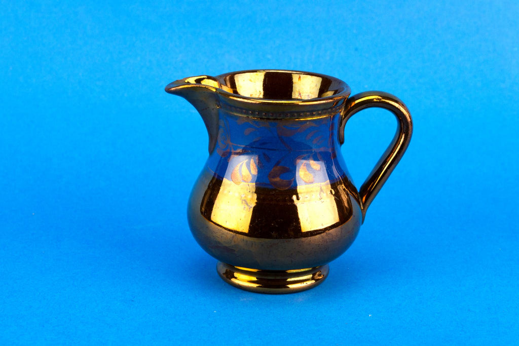 Small blue and bronze lustre milk jug, English 1830s