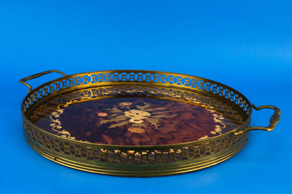 Floral Marquetry serving tray, Italian 1950s
