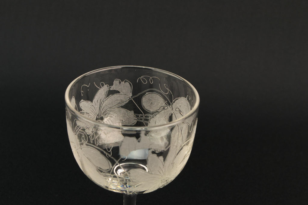 Engraved Edwardian Port Glass, English Early 1900s