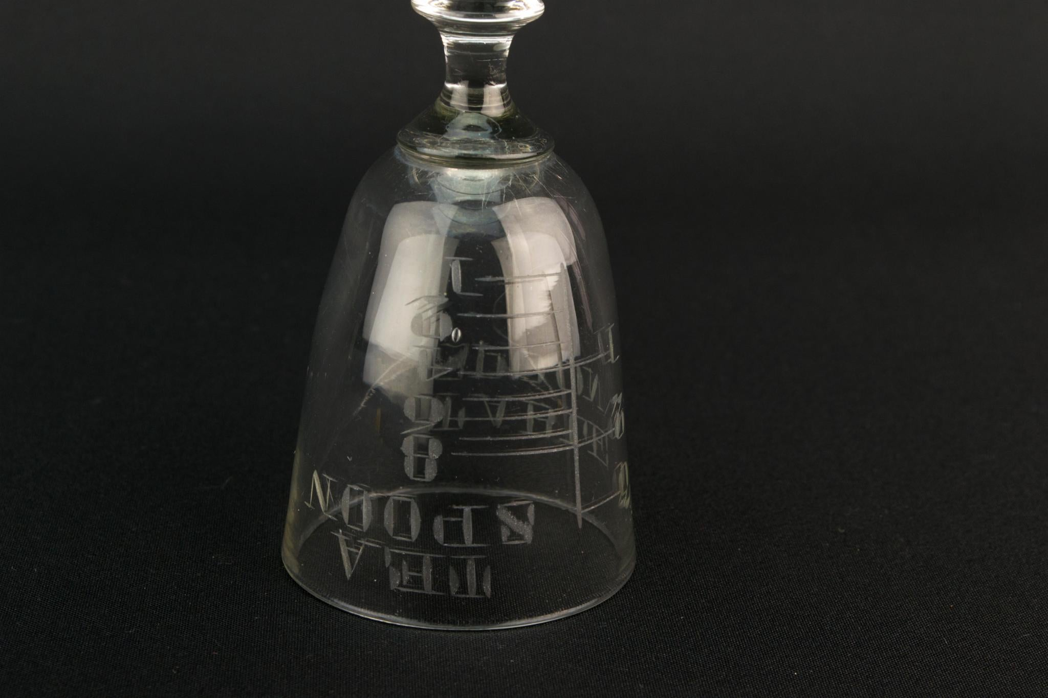 Engraved Shot Measurement Stem Glass, English Circa 1900