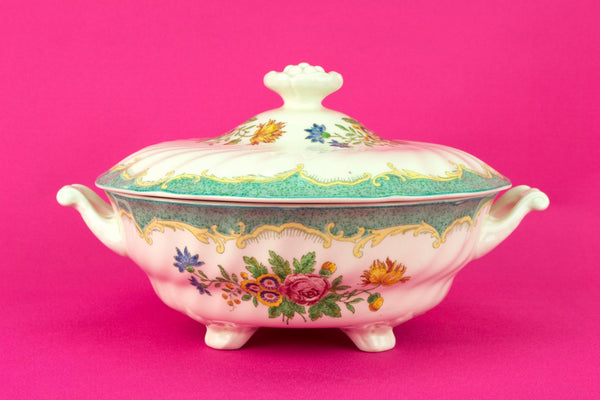 Royal Doulton Green Tureen, English Mid 20th Century