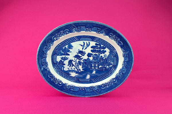 Blue And White Medium Serving Platter, English 1920s