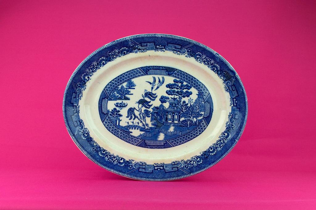 Blue And White Large Serving Platter, English 1920s