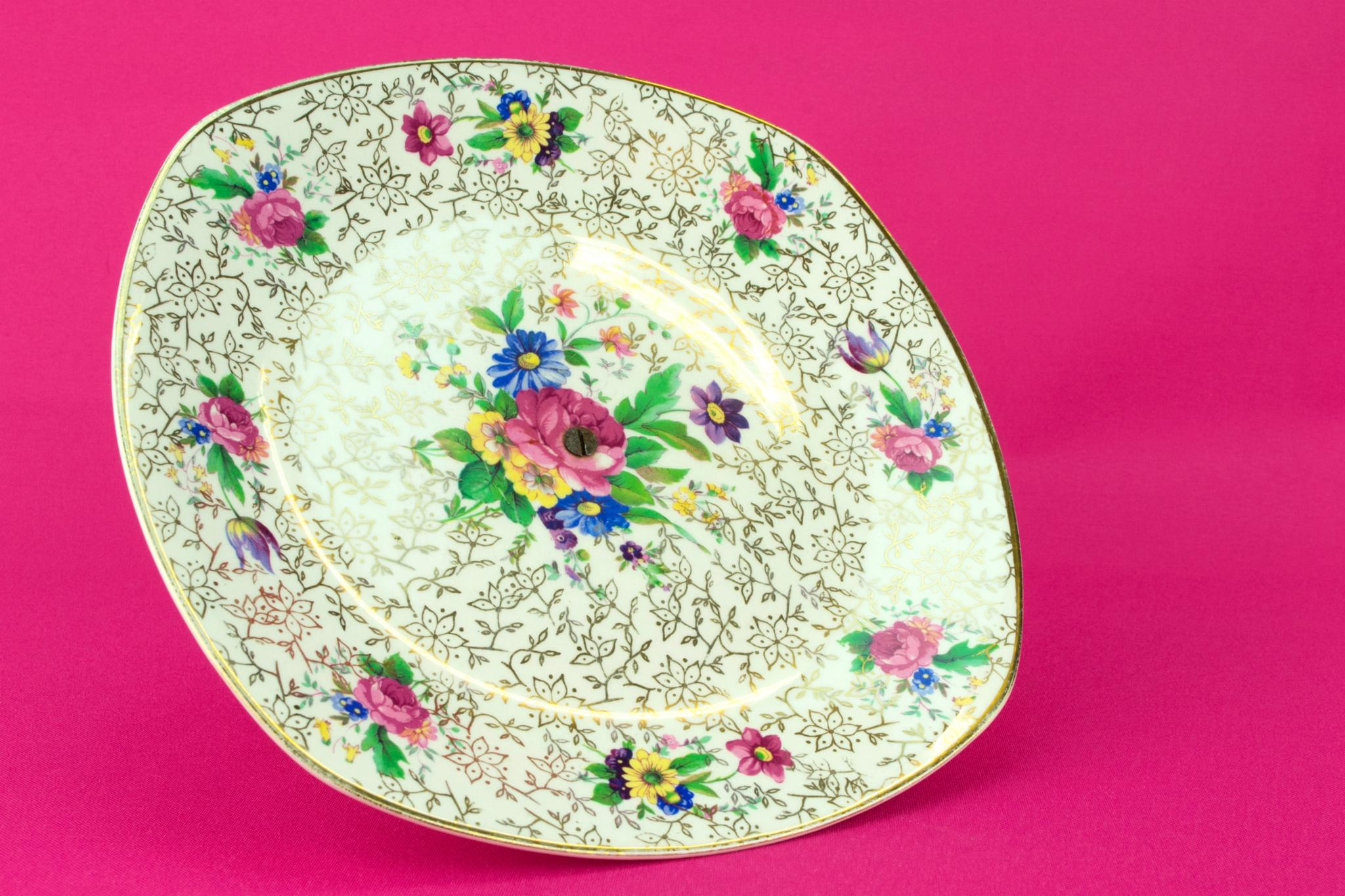 Chintz Cake Stand, English 1950s