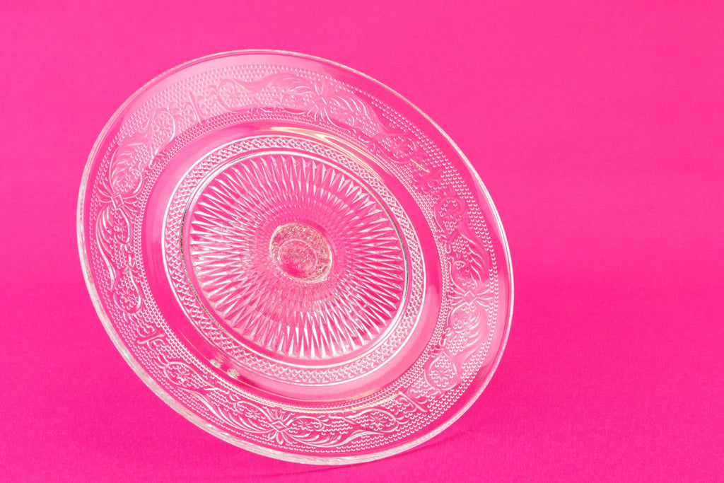 Pressed Glass Cake Stand, English Mid 20th Century